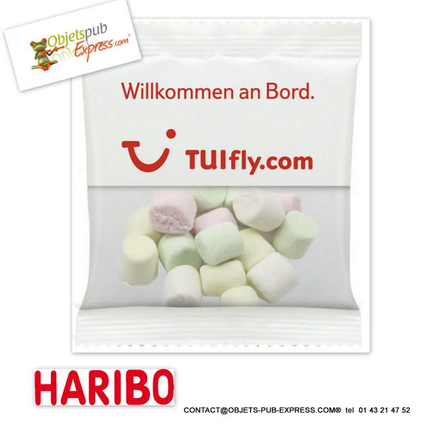 mini chamallows haribo sachet promo 6 5 gr objets publicitaires personnalis s sucr sal. Black Bedroom Furniture Sets. Home Design Ideas
