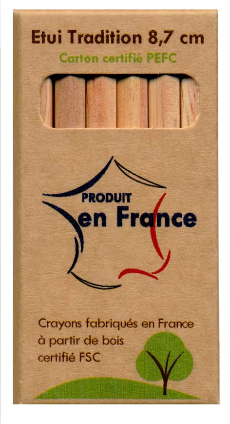 CRAYONS BOIS FSC 8.7 CM  ETUI EN CARTON RECYCLE Made In France Objets Pub Express®