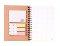 NOTE BOOK REPOSITIONNABLES EN CARTON RECYCLE Papeterie Personnalisable  Objets Pub Express®