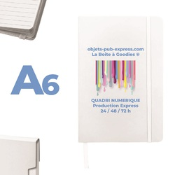 CARNET A6 BLANC 24H 48H 72 H PRODUCTION Clé usb Publicitaire High Tech  Objets Pub Express®