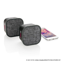 DUO ENCEINTE BLUETOOTH TISSUS GRIS CHINE Prestige - Ultra VIP - Marques Objets Pub Express®