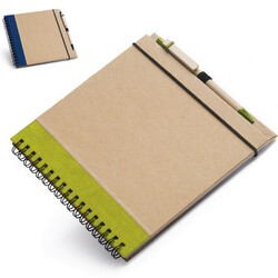 OBJET PUBLICITAIRE NOTE BOOK A SPIRALE CARRE Express Green Objets Pub Express®