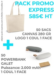 PACK PROMO 50 EX POWERBANK GALET + 50 EX SAC CANVAS 280 GR  Objets Pub Express®