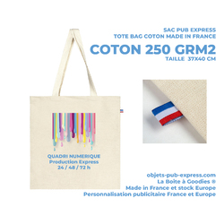 TOTE BAG PUB EXPRESS MADE IN FRANCE   COTON ECRU 250GR M² Objets Publicitaires Objets Pub Express®